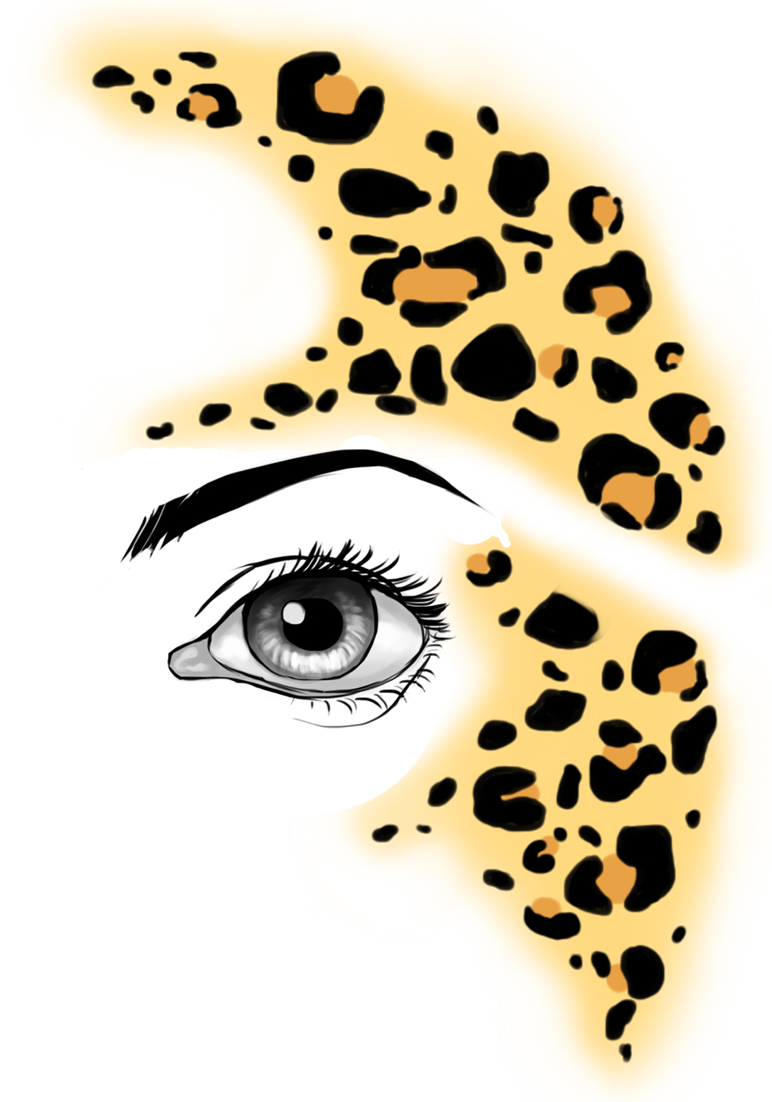 Leopard face paint tattoo