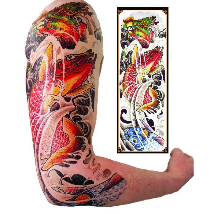 Koi and dragon tattoo sleeve