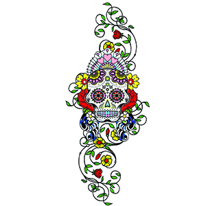 Ivory Sugar Skull XL Temporary Tattoo