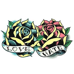 Love & Hate Vintage Rose Tattoo
