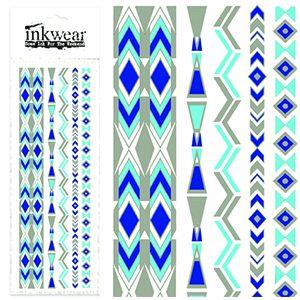 Blue Lightning Silver Metallic Tattoo Strip