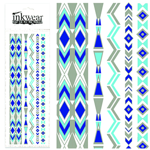 Blue Lightning Silver Metallic Tattoo Strip