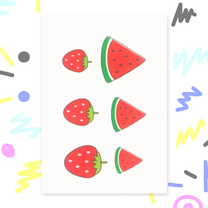 Melon & Strawberry Tattoo By Ickle Ink